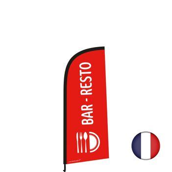 """Drapeau """"BAR RESTO"""" de 225 x 85 cm avec Kit mât et socle plastique"""