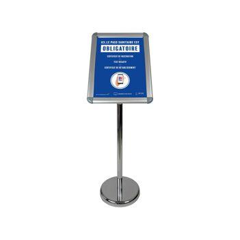 """Porte menu extérieur en aluminium avec affiche A3 """"PASS SANITAIRE OBLIGATOIRE"""""""
