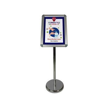 """Porte menu extérieur en aluminium avec affiche A3 """"DÉSINFECTEZ-VOUS LES MAINS"""""""