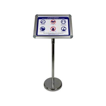 """Porte menu extérieur en aluminium avec affiche A3 """"GESTES BARRIÈRES"""""""