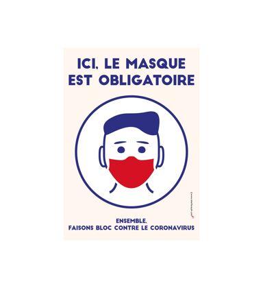 """Porte menu extérieur aluminium avec affiche A3 """"ICI, LE MASQUE EST OBLIGATOIRE"""""""
